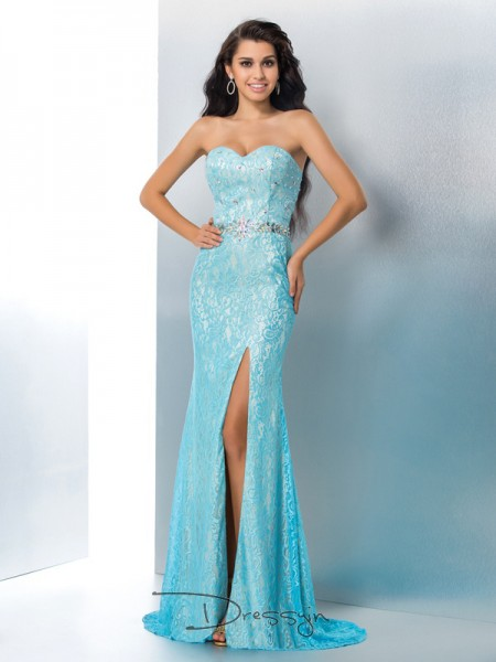 Trumpet/Mermaid Lace Sleeveless Sweetheart Beading Long dresses