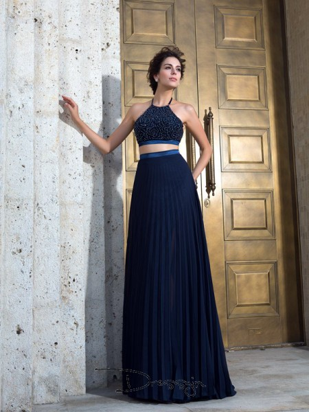A-Line/Princess Chiffon Sleeveless Spaghetti Straps Pleats Long dresses