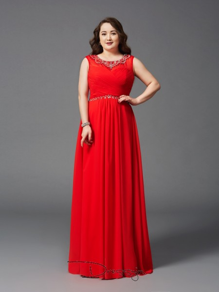 A-Line/Princess Chiffon Sleeveless Scoop Beading Long Plus Size Dress