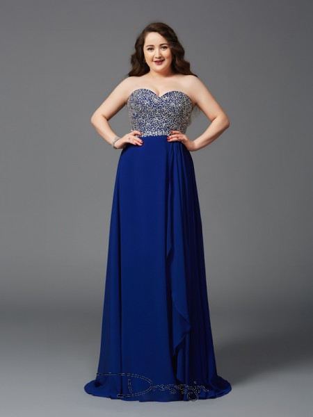 A-Line/Princess Chiffon Sleeveless Sweetheart Rhinestone Long Plus Size Dress