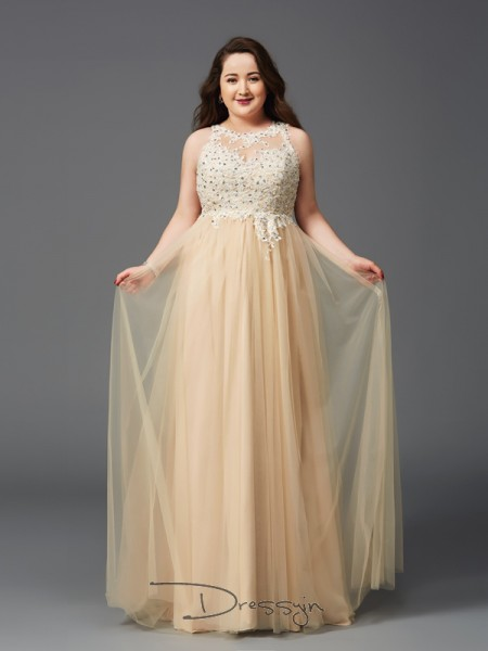 A-Line/Princess Net Sleeveless Scoop Rhinestone Long Plus Size Dress