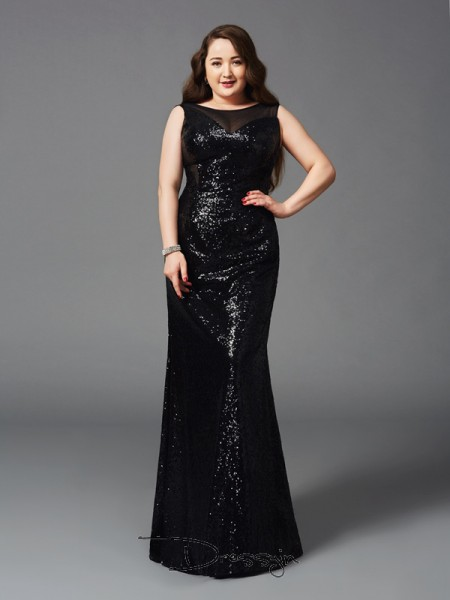 Sheath/Column Sequins Sleeveless Scoop Long Plus Size Dress
