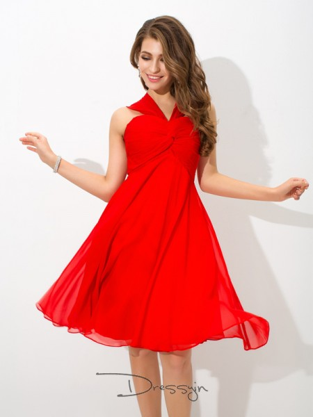 A-Line/Princess Chiffon Sleeveless Straps Pleats Knee-Length Dresses