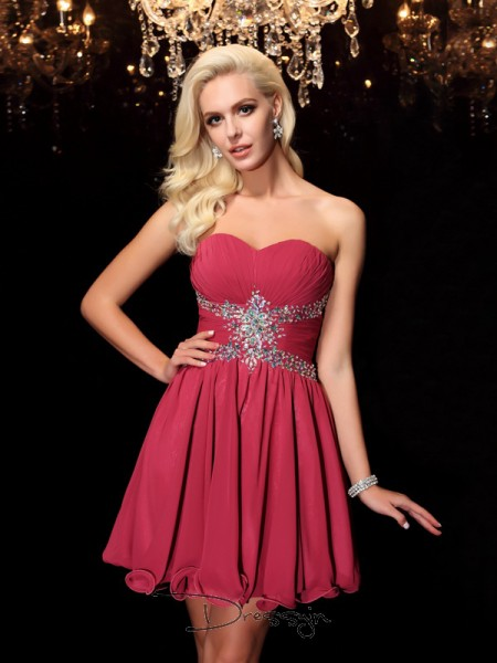 A-Line/Princess Chiffon Sleeveless Sweetheart Rhinestone Short Dresses