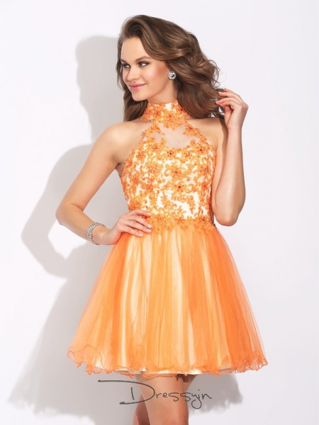 A-Line/Princess Net Sleeveless High Neck Ruffles Short Dresses
