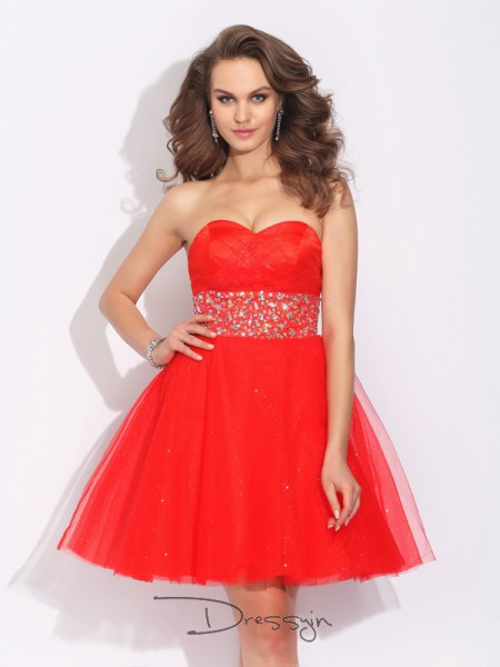 A-Line/Princess Net Sleeveless Sweetheart Rhinestone Short Dresses