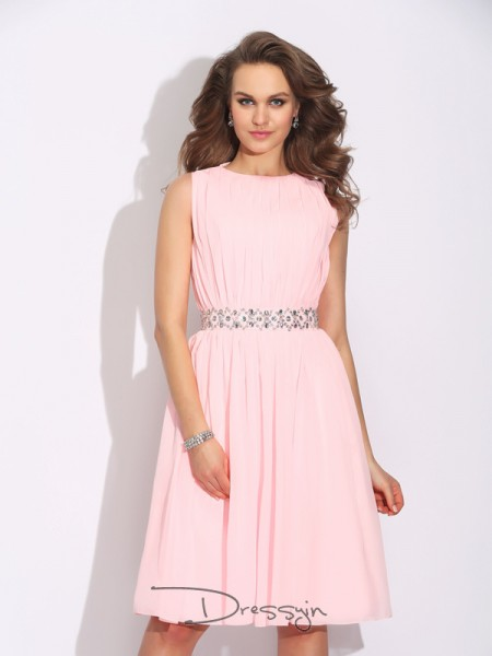 A-Line/Princess Chiffon Sleeveless Jewel Ruffles Knee-Length Dresses