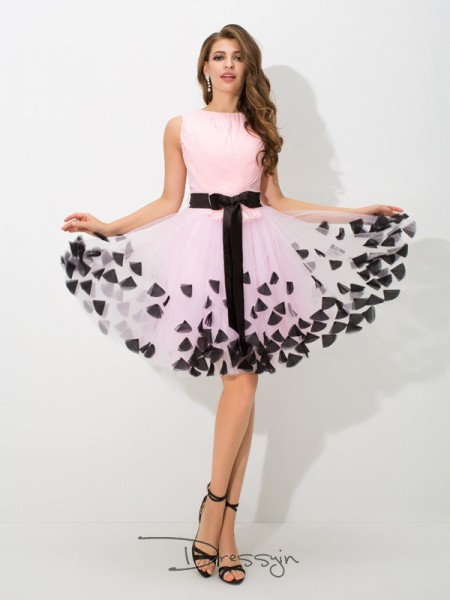 A-Line/Princess Net Sleeveless High Neck Bowknot Short Dresses
