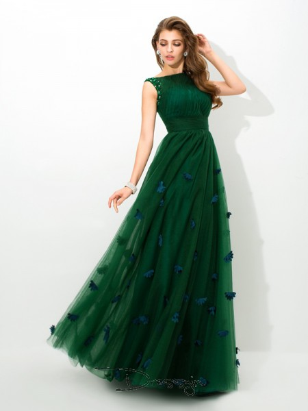 A-Line/Princess Net Sleeveless Sheer Neck Beading Long dresses