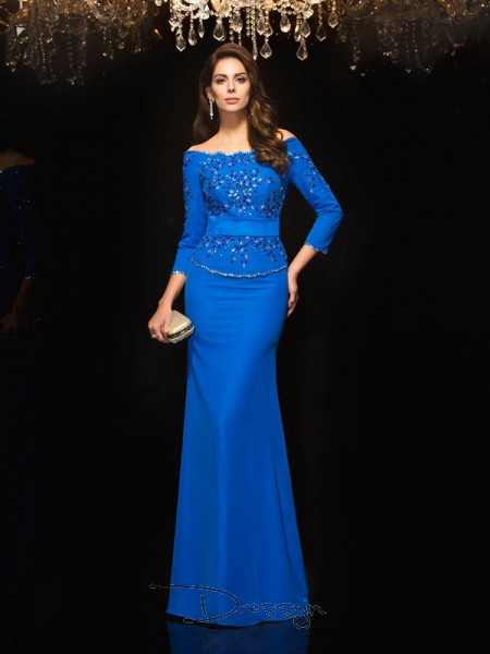 Sheath/Column Chiffon 3/4 Sleeves Off-the-Shoulder Beading Long dresses