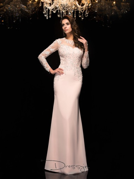 Sheath/Column Chiffon 3/4 Sleeves Sheer Neck Applique Long dresses