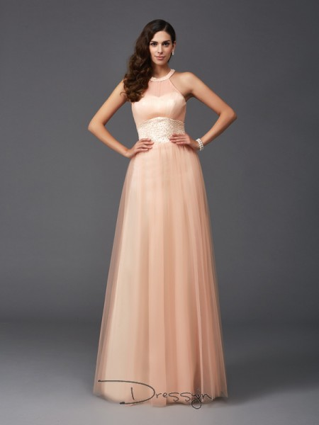 A-Line/Princess Net Sleeveless Halter Beading Long dresses