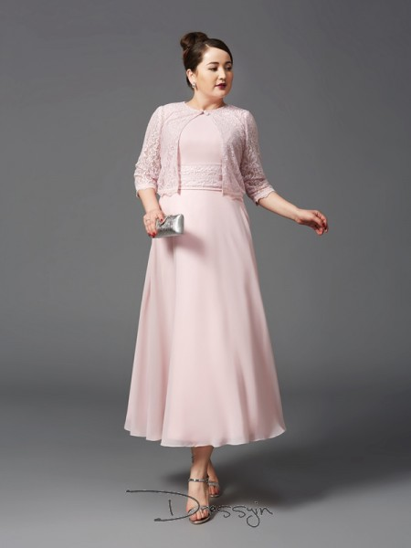 A-Line/Princess Chiffon Sleeveless Jewel Ankle-Length Plus Size Mother of the Bride Dress