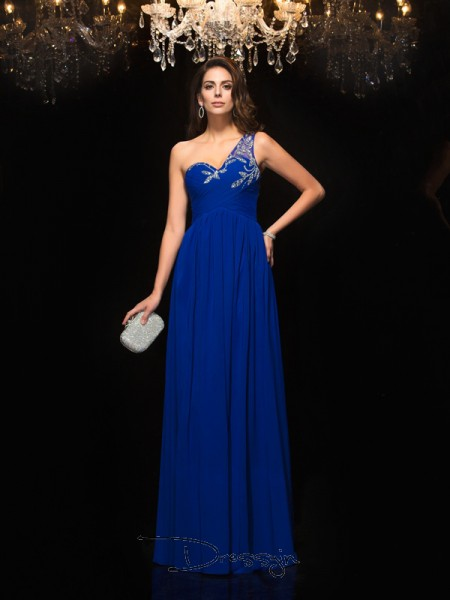 A-Line/Princess Chiffon Sleeveless One-Shoulder Beading Long dresses