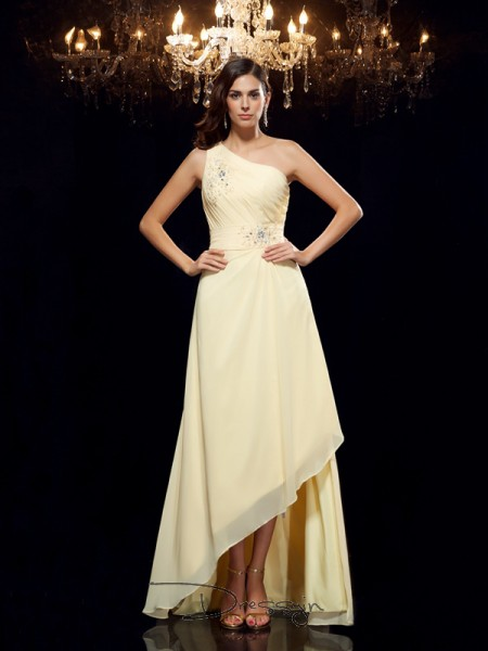 A-Line/Princess Chiffon Sleeveless One-Shoulder Beading Asymmetrical dresses