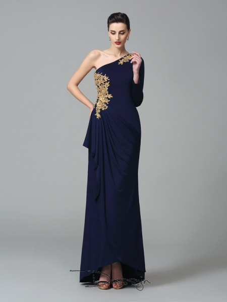 Sheath/Column Spandex Long Sleeves One-Shoulder Embroidery Long dresses