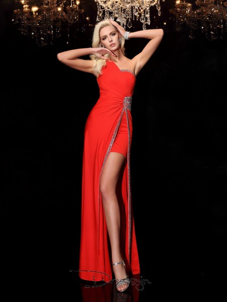 Sheath/Column Spandex Sleeveless One-Shoulder Beading Long dresses