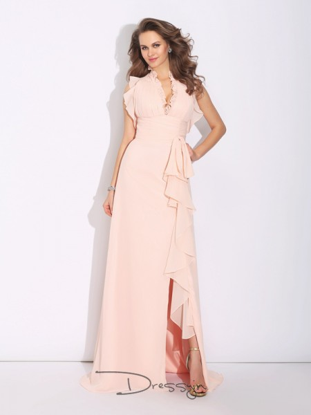 A-Line/Princess Chiffon Sleeveless High Neck Ruffles Long dresses