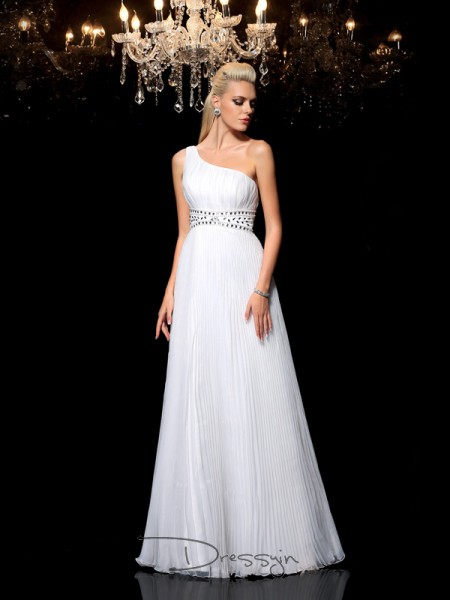 A-Line/Princess Organza Sleeveless One-Shoulder Beading Long dresses