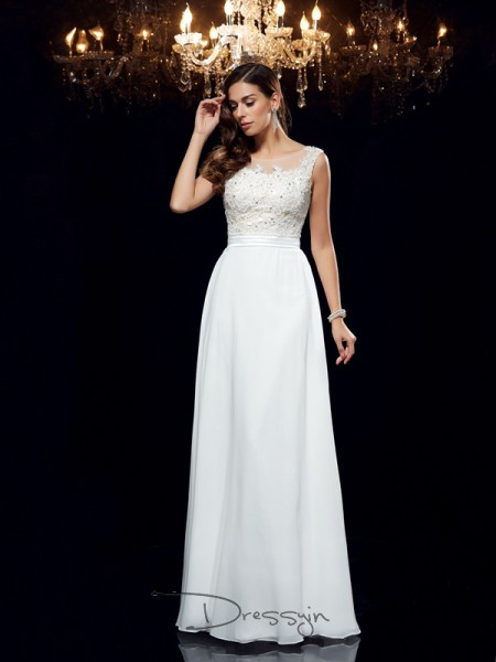 A-Line/Princess Chiffon Sleeveless Scoop Applique Long dresses