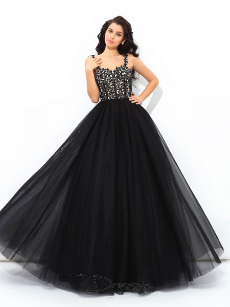 Ball Gown Net Sleeveless Straps Applique Long Quinceanera Dresses