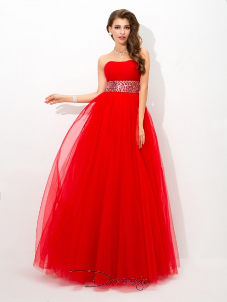 Ball Gown Net Sleeveless Strapless Beading Long dresses