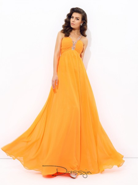 A-Line/Princess Chiffon Sleeveless V-neck Rhinestone Long dresses