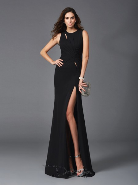 Sheath/Column Chiffon Sleeveless Scoop Beading Long Dress