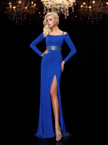 Sheath/Column Spandex Long Sleeves Bateau Beading Long dresses