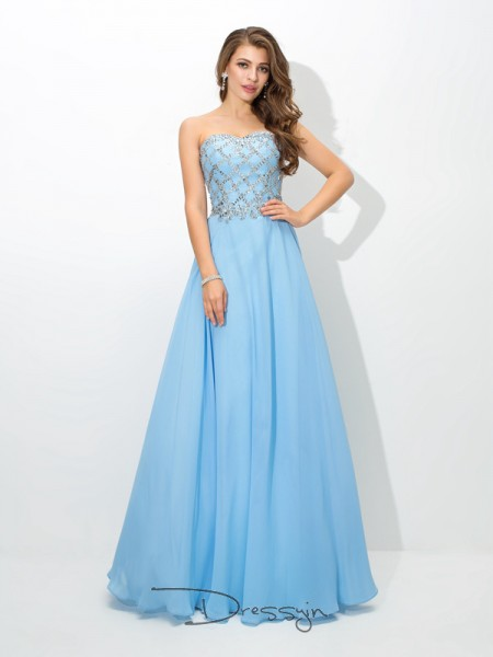 A-Line/Princess Chiffon Sleeveless Sweetheart Beading Long dresses