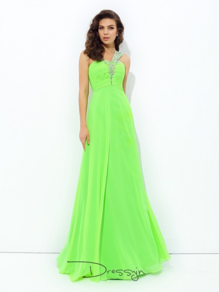 A-Line/Princess Chiffon Sleeveless One-Shoulder Rhinestone Long dresses