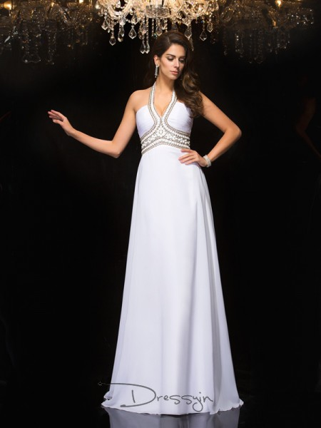 A-Line/Princess Chiffon Sleeveless Halter Long dresses