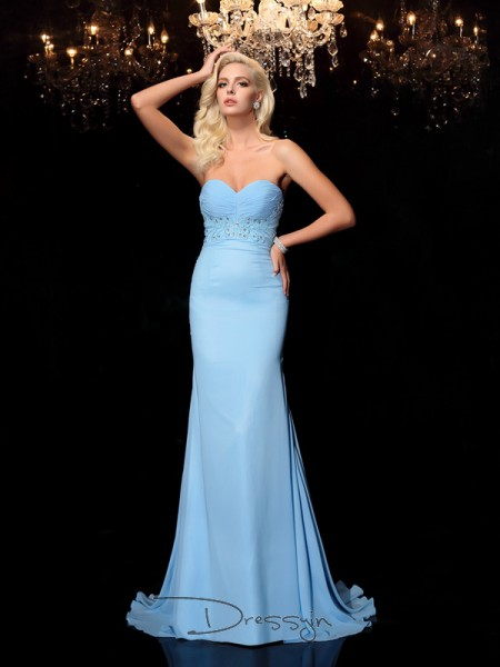 Trumpet/Mermaid Chiffon Sleeveless Sweetheart Rhinestone Long dresses