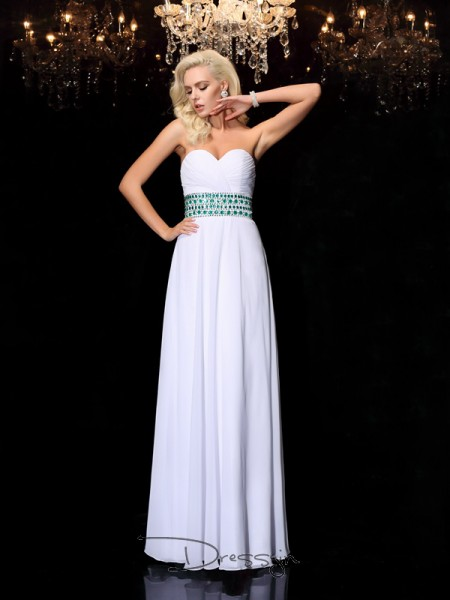 A-Line/Princess Chiffon Sleeveless Sweetheart Rhinestone Long dresses
