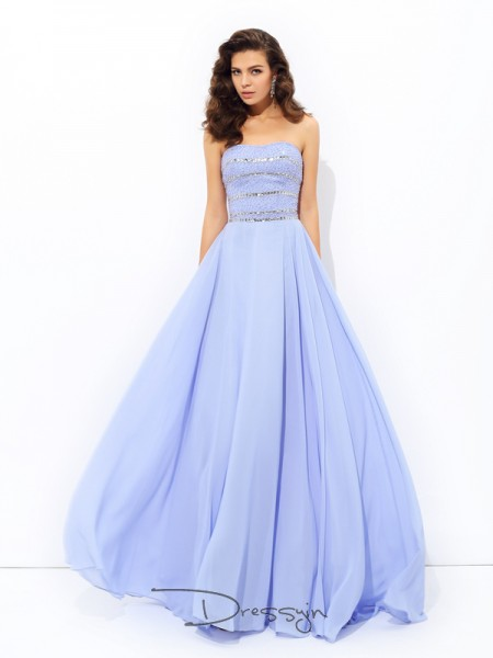 A-Line/Princess Chiffon Sleeveless Strapless Beading Long dresses
