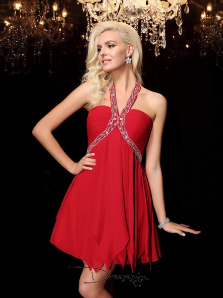 A-Line/Princess Chiffon Sleeveless Halter Beading Short dresses