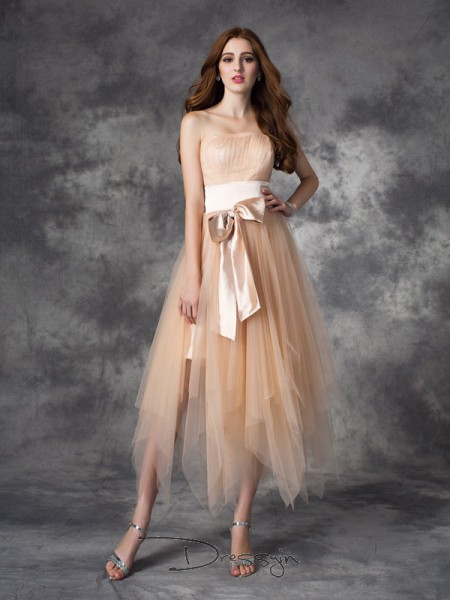 A-Line/Princess Elastic Woven Satin Sleeveless Strapless Bowknot Ankle-Length dresses