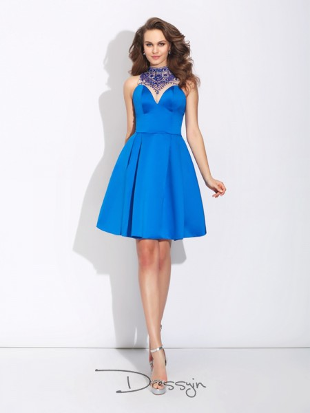 A-Line/Princess Satin Sleeveless High Neck Beading Short dresses