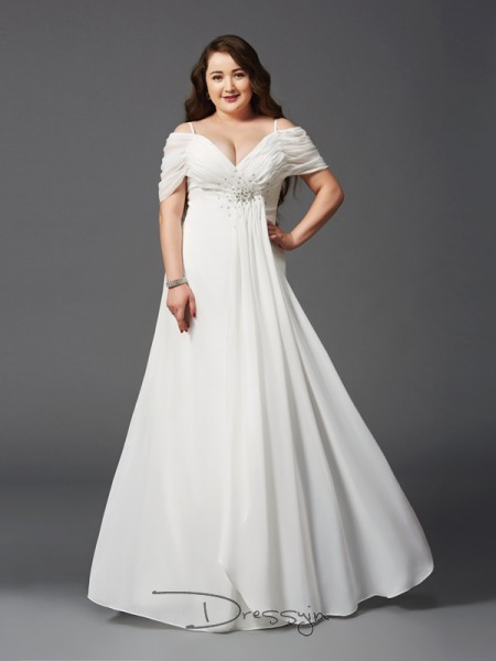 A-Line/Princess Chiffon Short Sleeves Off-the-Shoulder Ruched Long Plus Size Dress