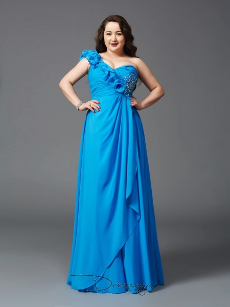 A-Line/Princess Chiffon Sleeveless One-Shoulder Rhinestone Long Plus Size Dress