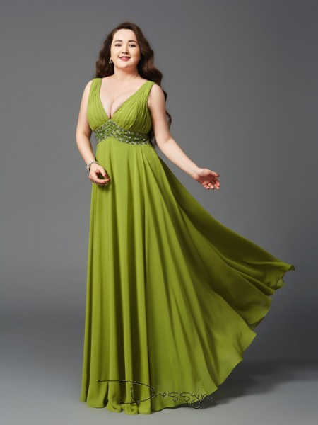 A-Line/Princess Chiffon Sleeveless Straps Rhinestone Long Plus Size Dress