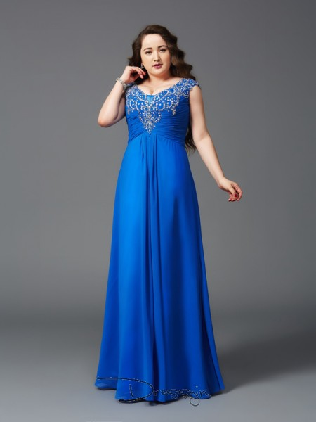 A-Line/Princess Chiffon Short Sleeves Straps Beading Long Plus Size Dress