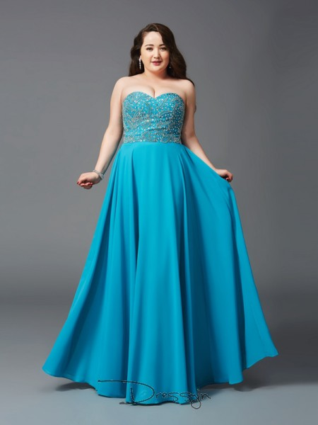 A-Line/Princess Chiffon Sleeveless Sweetheart Beading Long Plus Size Dress