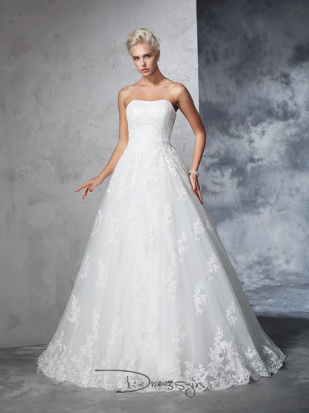 Ball Gown Lace Sleeveless Strapless Court Train Wedding Dresses