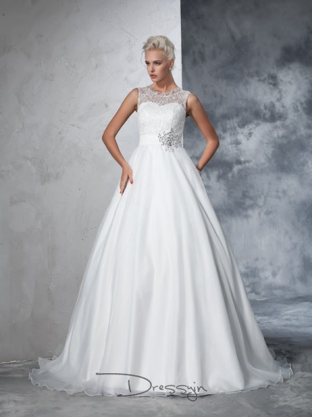 Ball Gown Net Sleeveless Sheer Neck Chapel Train Wedding Dresses