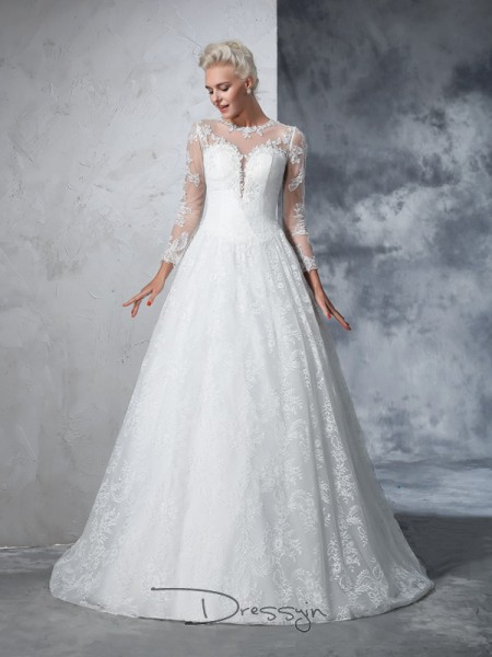 Ball Gown Lace Long Sleeves Jewel Court Train Wedding Dresses