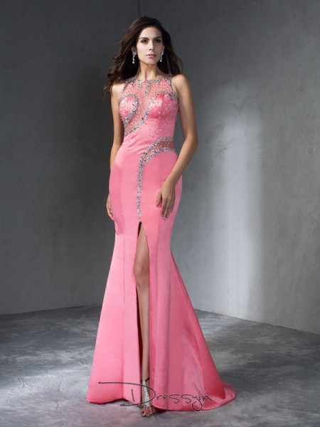 Trumpet/Mermaid Satin Sleeveless Scoop Beading Long dresses