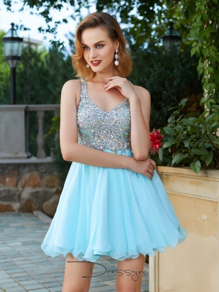 A-Line/Princess Sleeveless Straps Rhinestone Chiffon Short dress