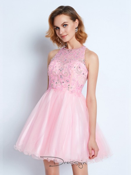 A-Line/Princess Sleeveless Jewel Ruffles Net Short dress