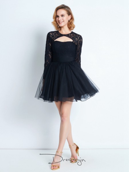 A-Line/Princess Long Sleeves High Neck Net Short dress
